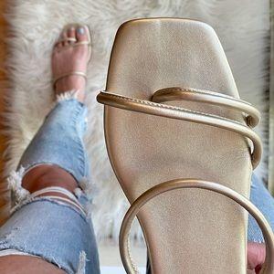 Athena Champagne Square Toe Sandals